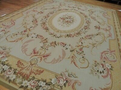 9x12 French Aubusson Area Rug Floral Beige Gold Pink Green Medallion wool Green Gold Area Rug