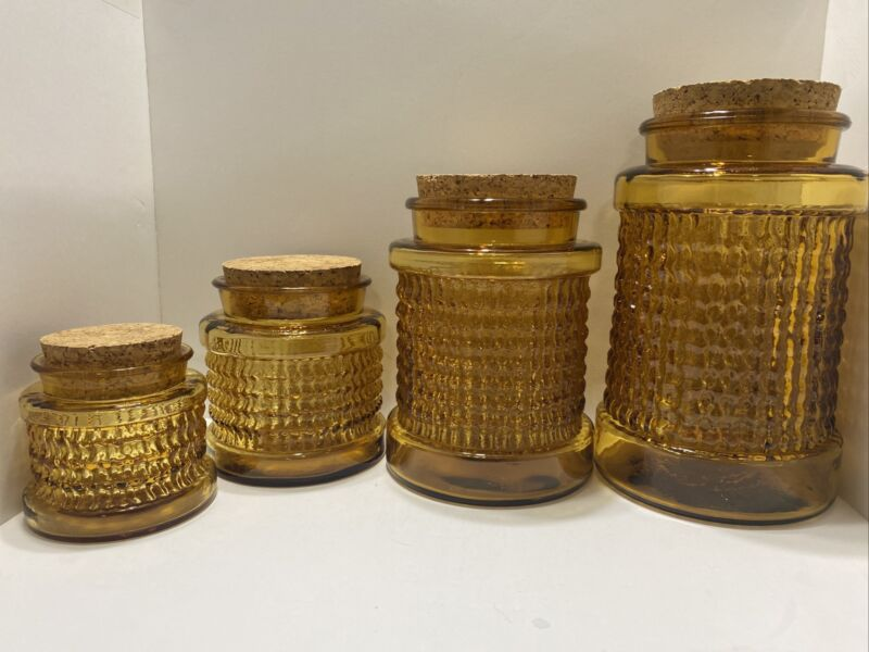 Vintage 1960's Heavy Amber Bubbled Ribbed Canister Set With Cork Tops Rare