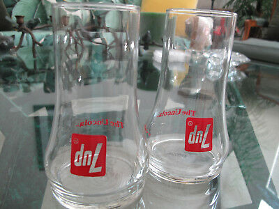"""SET OF TWO Vintage """"7-UP THE UNCOLA"""" UPSIDE-DOWN DRINKING GLASSES"""