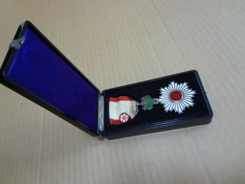 WWII Japanese Order of the Rising Sun 6th Class Medal Badge Aymy Navy 03
