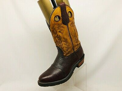 EUC Double H B Gel Ice Brown Bull Hide Leather Buckaroo Cowboy Boots Sz 10.5 EE