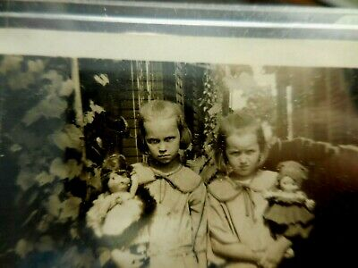 Vintage Photograph 2 Scary Girls w Kewpie Dolls Halloween Pic The Shining Twins (Scary Vintage Halloween Photos)