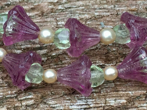 ART DECO VINTAGE GLASS BEAD & SIMULATED PEARL NECKLACE - SUFFRAGETTE COLOURS