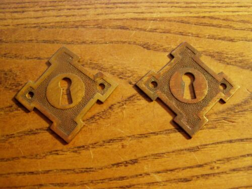 Matched Pair  Victorian  Keyhole Escutcheon , BRASS   Flush Mount Keyhole Covers