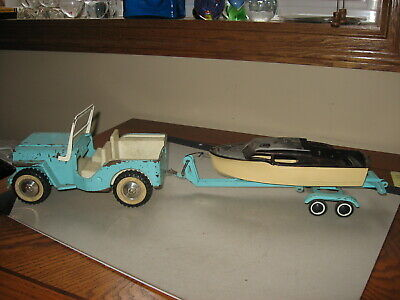 Vintage 1960s Tonka Toys Jeep & Trailer With Boat