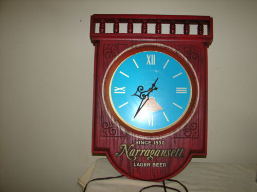 Vintage Narragansett beer lighted clock light nautical Lager Advertising Sign