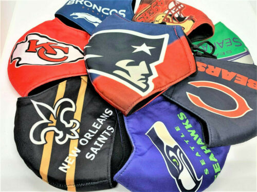 NFL Football Teams 100% cotton face mask - adjustable straps - thick durable