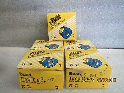 Buss-Edison Time-Delay-Fuses-TL-15-TRON-NEW LOT OF 5 BOXES of 4 fuses Time Delay Fuses