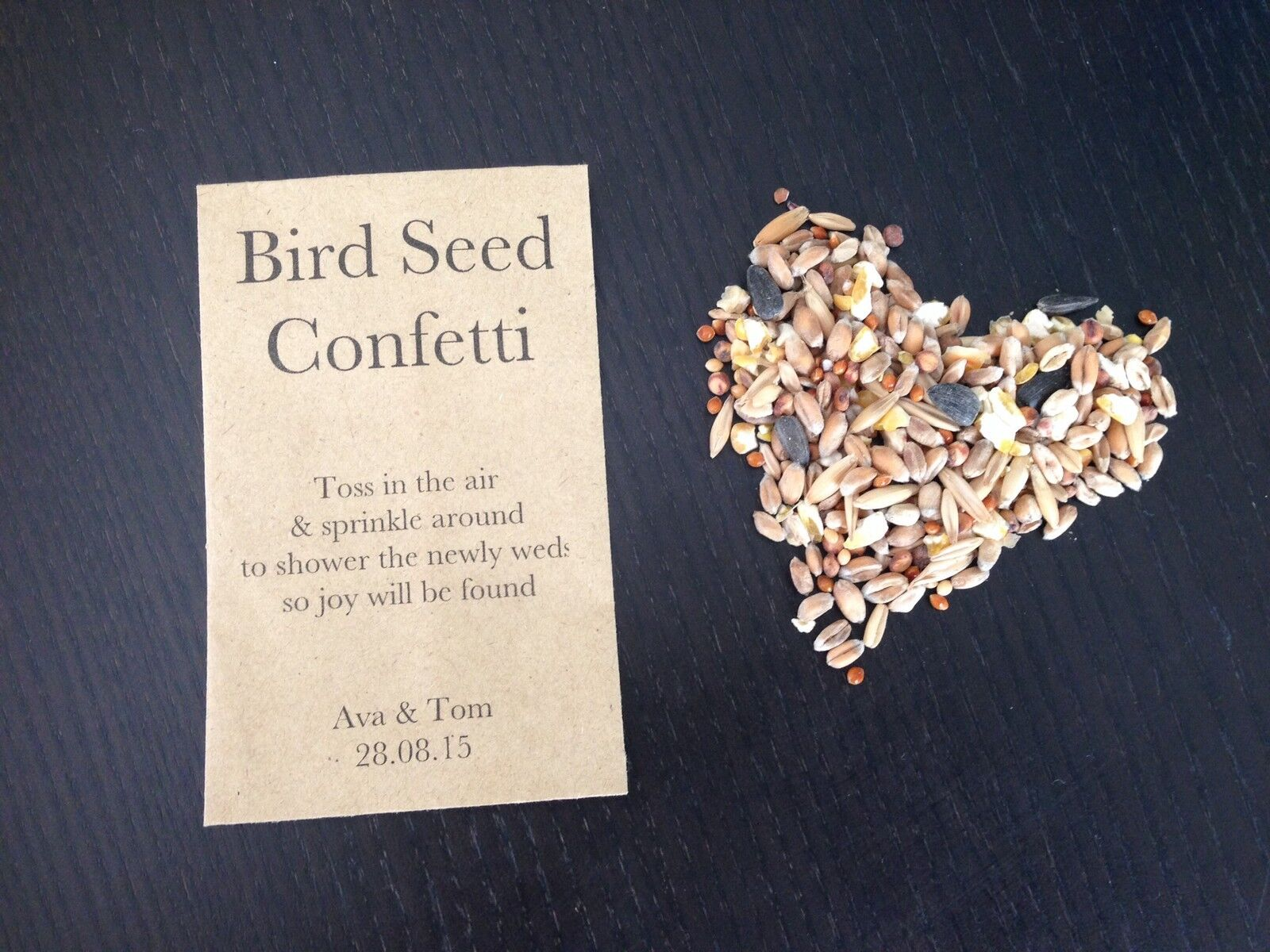 10 X Bird Seed Confetti Envelopes Free Personalisation