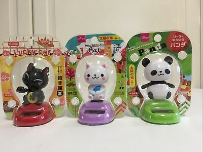 3 Solar Powered Swinging Lucky Cat Black White Panda Bobble Head Maneki Neko