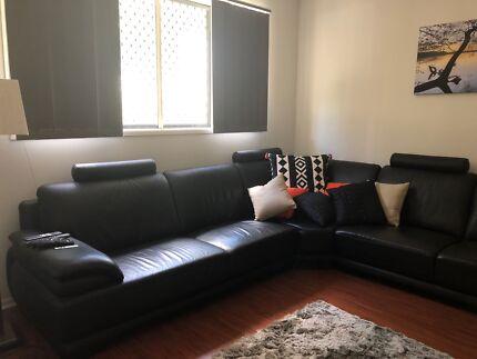 8-9 person leather corner lounge