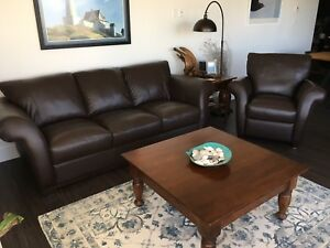 Genuine Italian Leather Sofa And Matching Recliner