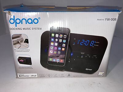 dpnao 5 in 1 iPhone Charger Dock Station with Alarm Clock FM Radio YW-008 -Black