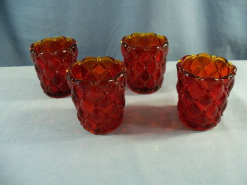 Lot of 4 Ruby Red Glass Diamond Quilt Votive Candle Toothpick Holders