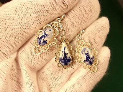 STERLING SILVER EARRINGS-PENDANT-NECKLACE SET DUTCH HOLLAND BLUE/WHITE WINDMILLS