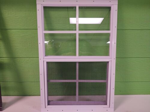 Shed Window--18 x 27 with 4 x 4 grids, White/Brown--J-lap or Flush