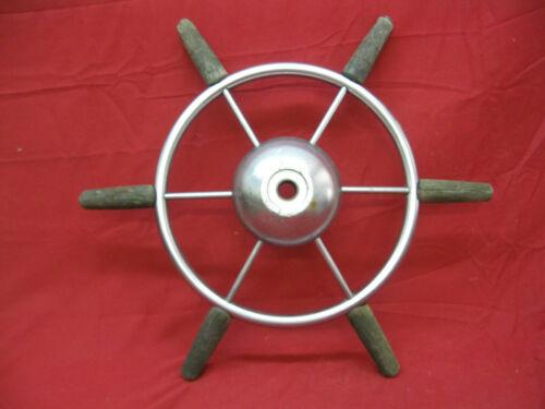 Vintage Original Stainless & Wood Marine Maritime Nautical Boat Ship Wheel