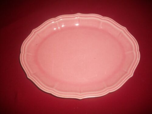 "VTG W.S. George Pastel PINK RAINBOW~Oval Scalloped Platter Plate~11""x8""~EUC"