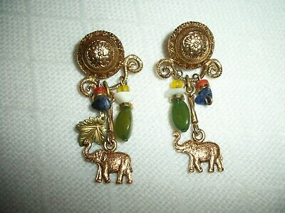 ESTATE VINTAGE AGATE GEMSTONE ELEPHANT EARRINGS ANTIQUE GOLD PLATED PRE-OWNED