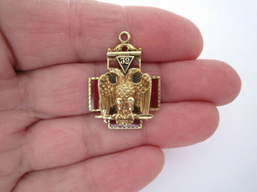 14K Solid Gold 32 Degree Masonic Mason Enamel - Double Eagle - Pendant FOB