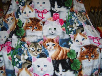 Pretty Kitties Cat Big Polar  Fleece Blanket Throw New Handmade Vhtf