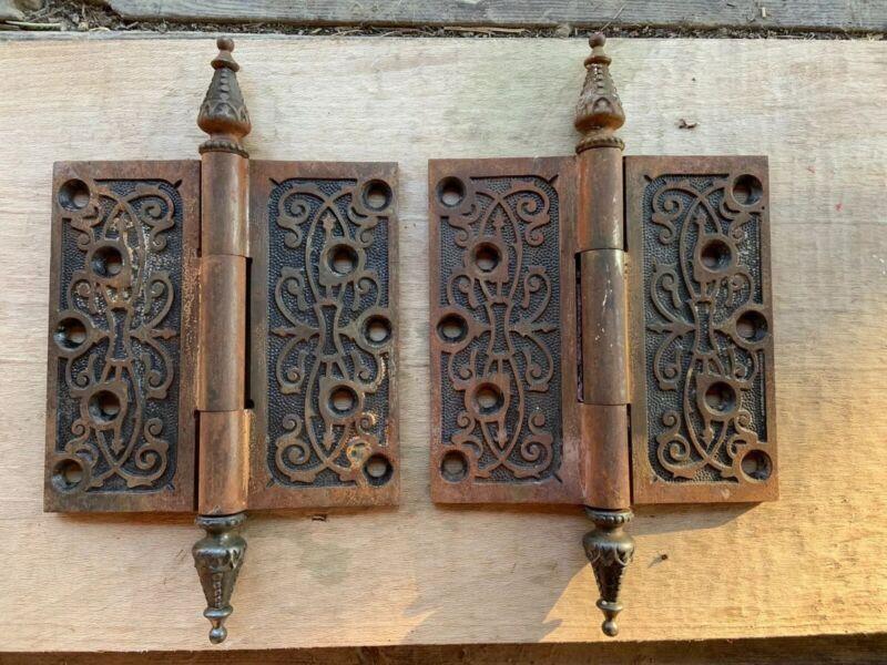 """Pair Beautiful Vintage Eastlake Steeple Tip Door Hinges 5"""" X 5"""" Restore"""