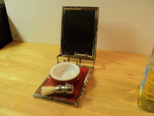 Vintage Red, Metal Train Travel Shaving Kit with brush, mirror & Bowl