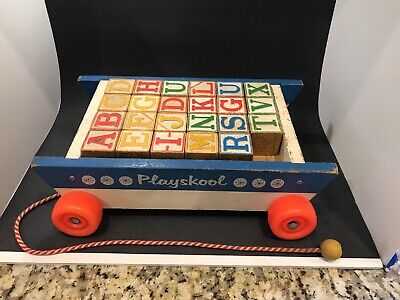 Vintage Playskool Wooden Alphabet and Number Blocks in Pull Toy Wagon