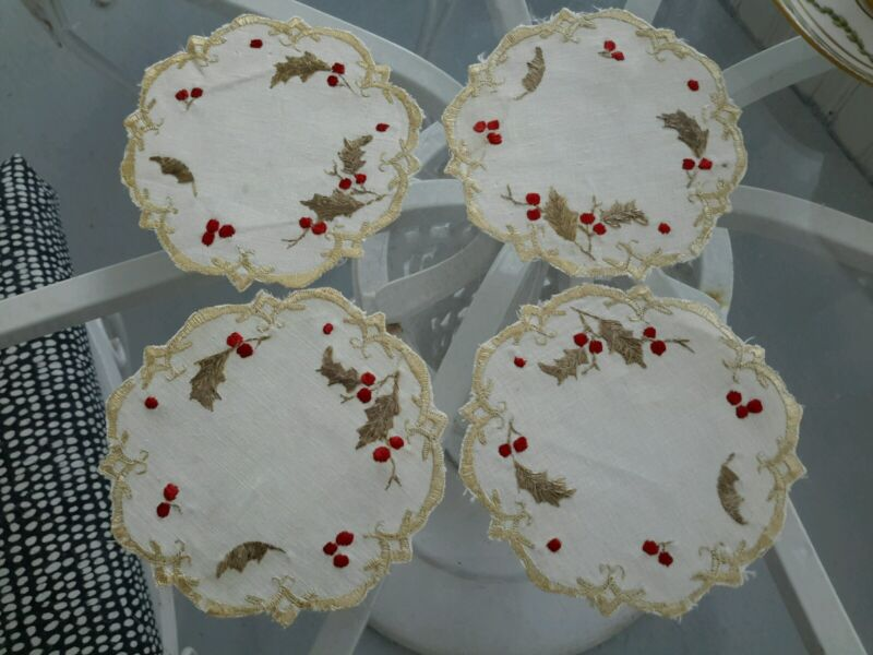 """4 ANTIQUE SOCIETY SILK HAND EMBROIDERED LINEN DOILYS HOLLY 4"""" CHRISTMAS Coasters"""