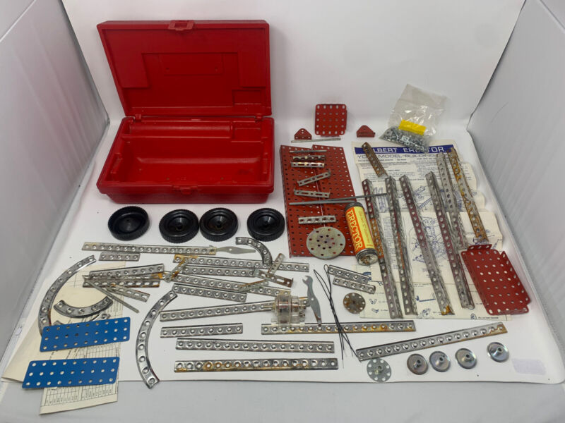 1964 Vintage Gilbert Erector Set with Red Plastic Case Construction Toy M-6734 M