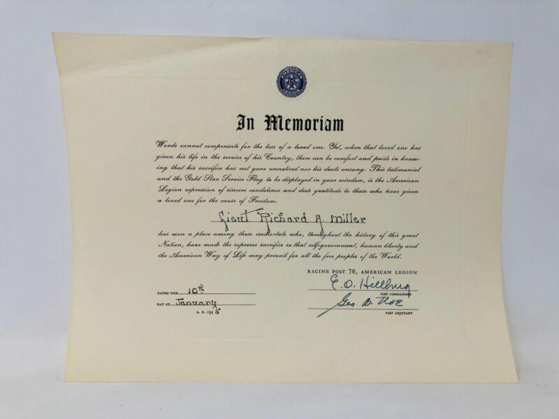 Vtg WWII American Legion In Memoriam Certificate Soldier Death Racine Wis 1945