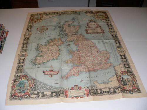 1937 Dated Pre WW2 Vintage POSTER MAP of the BRITISH ISLES National Geographic