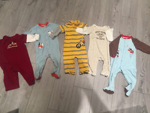 5x long sleeve Sleepers 12-18 months