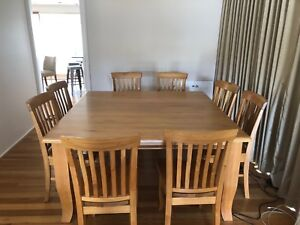 Square 8 seater wood dining table