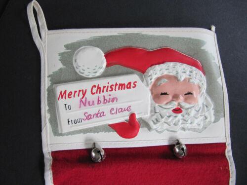 "Vtg Christmas Felt Stocking Vacuform blowmold vinyl Plastic Santa top 21"" Bells"