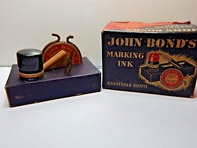 Antique John Bond's Marking Ink Kit For Fabric Antique Sewing & Writing curio