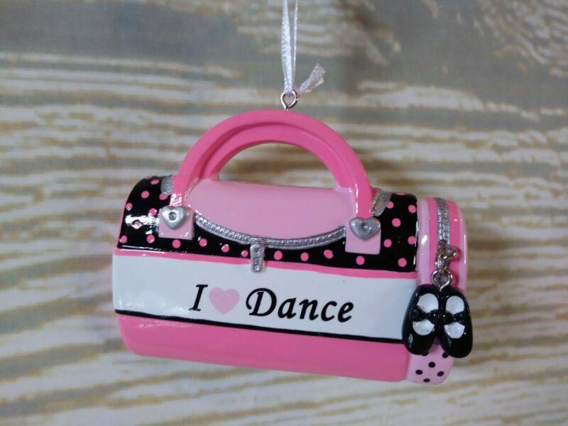 "New! PINK ""I LOVE DANCE"" Christmas Tree Ornament Dance Girls Charm Jazz Shoes"