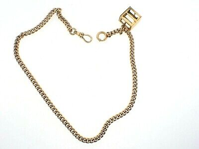 """Vintage SIMMONS Gold Filled POCKET WATCH CHAIN with Money Bank Locket 14"""""""