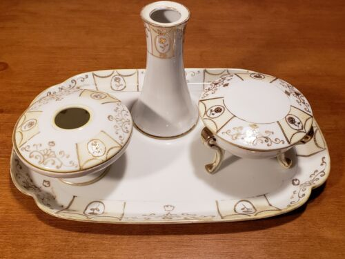 NIPPON Porcelain Vanity Set 6 Piece incl. Tray, Hat Pin, Powder & Hair Collector
