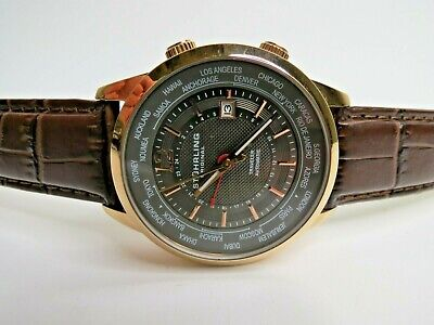 Stuhrling Original Explorer 43mm Automatic Dual Time Watch Brown Leather