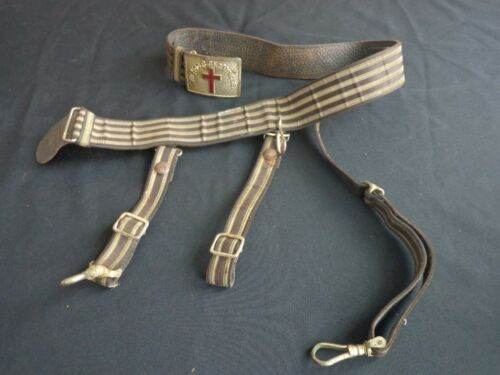 Vintage Masonic Knights Templar SWORD BELT w Hangers, IN HOC SIGNO VINCES buckle