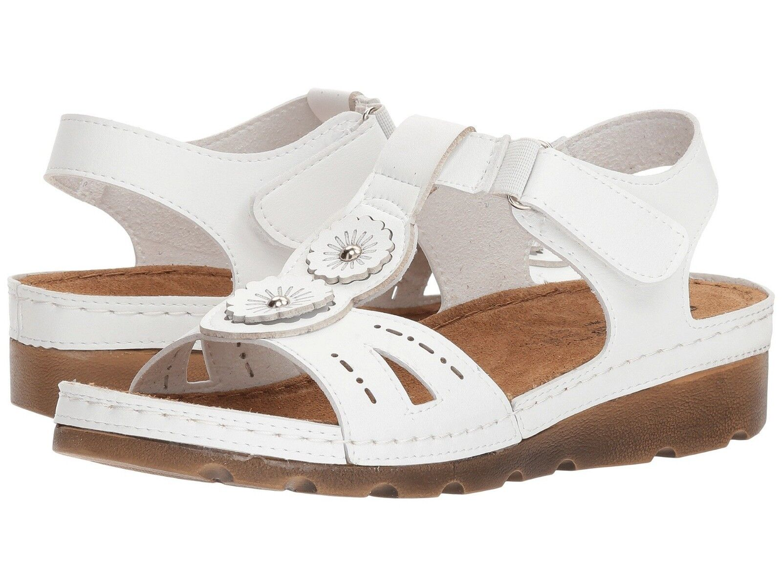 Flexus by Spring Step SILAS Womens White Hook and Loop Strap Sandals