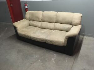 Beige Couch with leather and Love Seat ***Free Delivery***