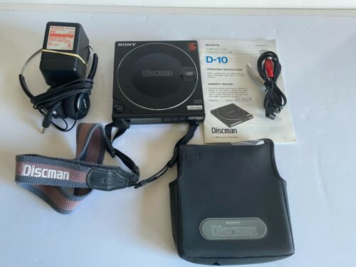 Vintage Sony Discman D-10 with Battery Pack BP-100 Metal Japan + Extras
