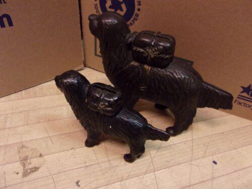 Vintage Cast Iron Retriever Pack Dog Bank - Set of (2) - Christmas