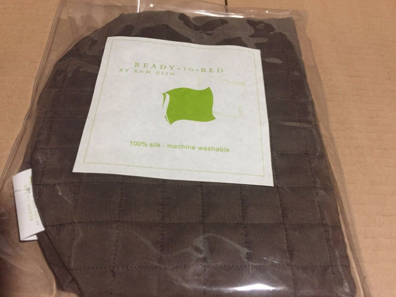NWT Ann Gish Ready-to-Bed Chocolate 100% SILK Quilted Neckroll Bolster $100 WOW!