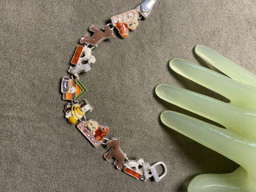 "Vintage 7 1/2"" Silvertone 3/4"" Wide Enamel Painted Dog Puppy Theme Bracelet - Y"