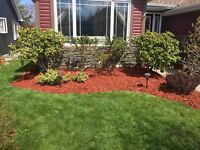 Landscaping and lawn mowing services.