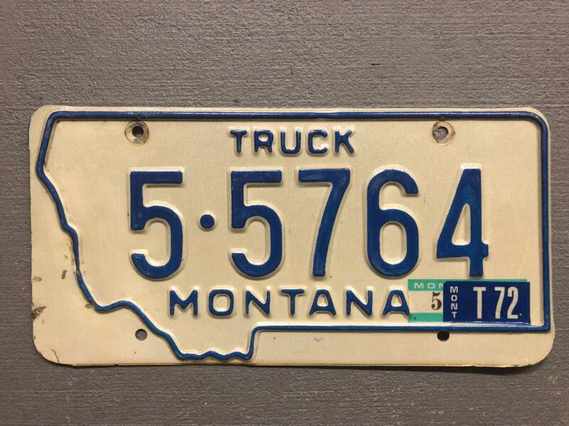 VINTAGE 1972 MONTANA LICENSE PLATE BLUE/WHITE 5-5764 TRUCK 1972 STICKER