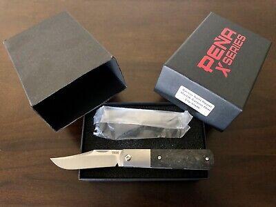 Pena X-Series Barlow Clip Point Front Flipper Folding Knife Carbon Fiber BNIB!!!